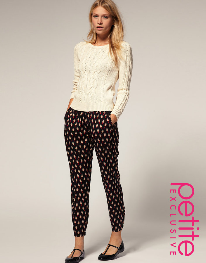 ASOS PETITE Exclusive Pants In Bird Print