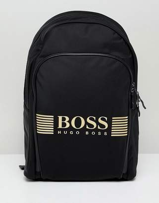 BOSS pixel back pack nylon gold logo in black