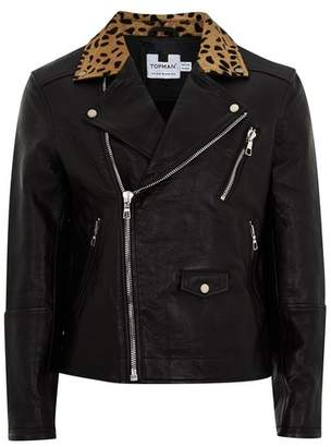 Topman Mens Black Leather Biker Jacket With Leopard Collar