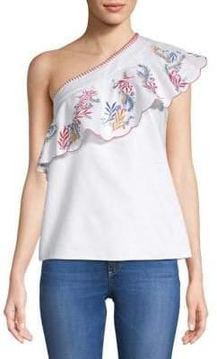 Saloni Esme One-Shoulder Embroidered Blouse