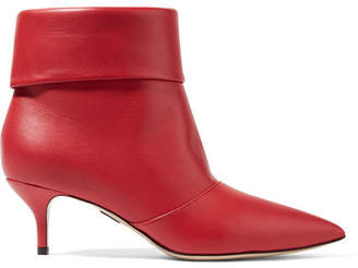 Paul Andrew Banner Leather Ankle Boots - Red