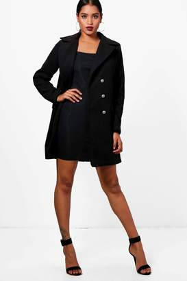 boohoo Double Breasted Military Wool Look Coat