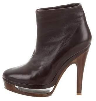 Salvatore Ferragamo Leather Platform Ankle Boots