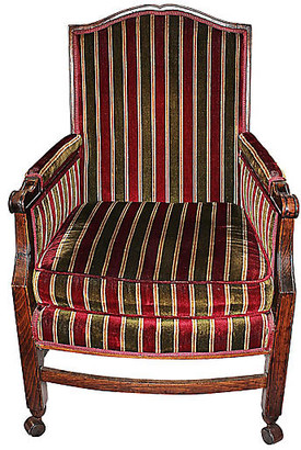 One Kings Lane Vintage French Rolling Armchair - House of Charm Antiques