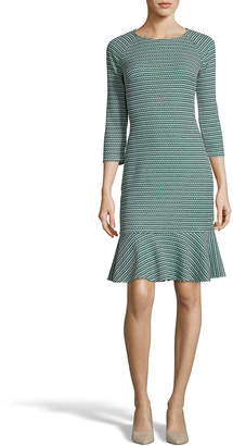 Label By 5twelve Jewel-Neck 3/4-Sleeve Ruffle-Hem Sheath Dress