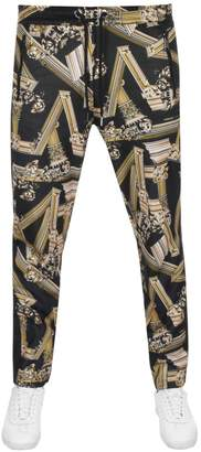 Versace Contrast Print Jogging Bottoms Black
