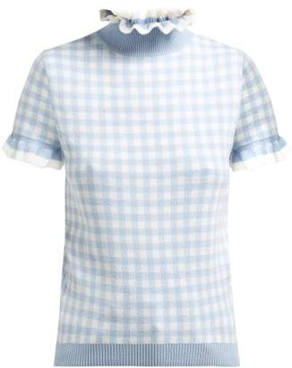 Shrimps Ruffle Roll Neck Gingham Wool Top - Womens - Light Blue