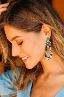 francesca's Langley Marbled Resin Statement Earrings - Teal