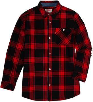 Levi's Boy's Plaid Cotton Collared Shirt