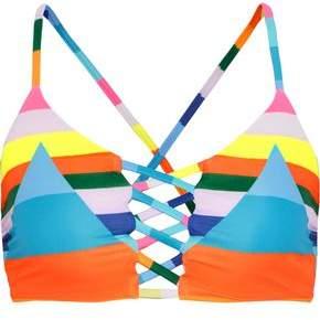 Mara Hoffman Color-Block Lattice Lace-Up Bikini Top