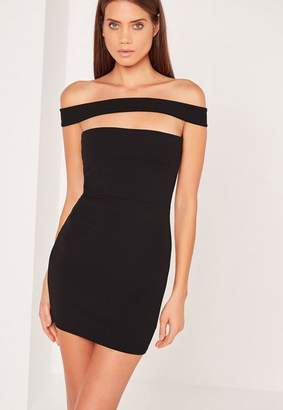 Missguided Cut Out Panel Bardot Bodycon Dress Black