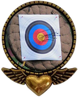 GiftJewelryShop Ancient Style Gold-plated Olympics Archery target Heart With Angel Wings Pins Brooch