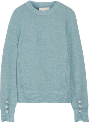 3.1 Phillip Lim - Faux Pearl-embellished Knitted Sweater - Light blue
