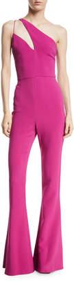 Cushnie Stretch Cady Flare Jumpsuit w/ Asymmetric Cutout