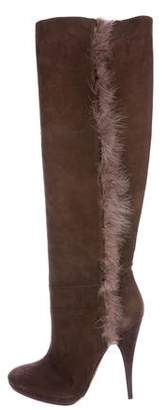 Nina Ricci Feather Trim Knee-High Boots