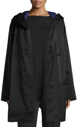 Eileen Fisher Reversible Hooded Raincoat w/ Sheen $348 thestylecure.com