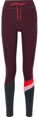 The Upside Striped Stretch Leggings - Burgundy