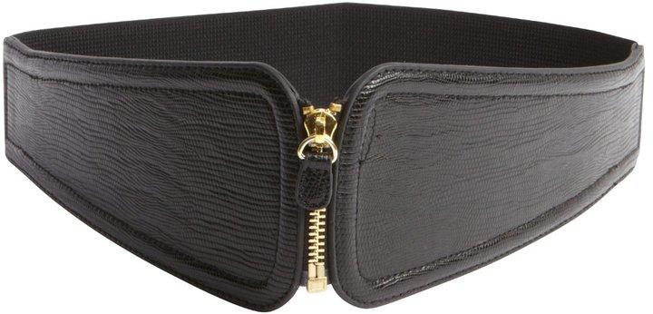 Fashion Focus Black Embossed Wide Stretch Zip Belt