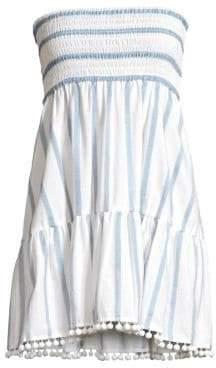 Milly Striped Smocked Flounce Minidress