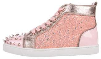Christian Louboutin Studded Glitter High-Top Sneakers w/ Tags
