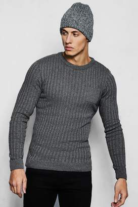boohoo Knitted Crew Neck Jumper With Patch Pocket