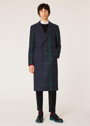 Paul Smith Men's Panelled Tartan Double-Breasted Wool-Cashmere Overcoat