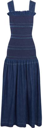 Stella McCartney - Ruffled Smocked Denim Maxi Dress - Dark denim $935 thestylecure.com