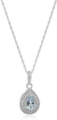 10K White Gold Aquamarine with Created White Sapphire Drop Pendant Necklace