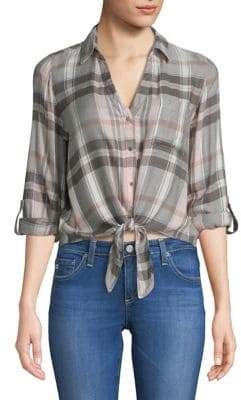 Dex Plaid Front-Tie Top