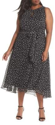 Tahari Polka Dot Keyhole Chiffon Dress
