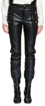 Chloe Cropped Leather & Suede Biker Pants, Black $3,095 thestylecure.com