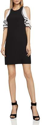 BCBGMAXAZRIA Cold-Shoulder Crepe Dress
