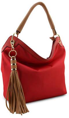 Sondra Roberts SQUARED Tassel Slouched Hobo Bag