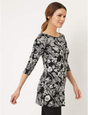 George White Floral Patterned Jersey Tunic Top