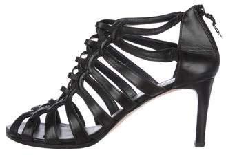 Stuart Weitzman Leather Cage Sandals