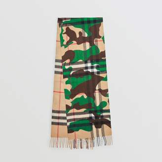 Burberry The Classic Camouflage Check Cashmere Scarf