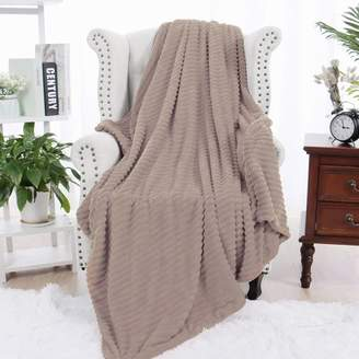 PiccoCasa Flannel Fleece Throw Blanket for Couch Brown 51 x 59 Inch