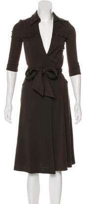 Diane von Furstenberg Long Sleeve Wool Wrap Dress