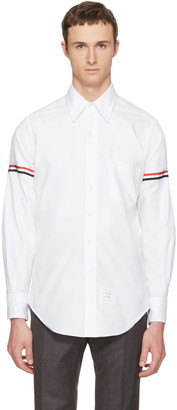 Thom Browne White Classic Grosgrain Armband Shirt $450 thestylecure.com