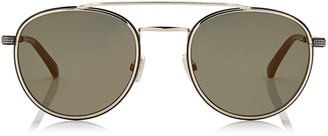 Jimmy Choo DAVE Black and Gold Metal Aviator Sunglasses with Mirror Lenses