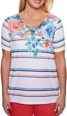 Alfred Dunner Sun City Short Sleeve Crew Neck Floral T-Shirt-Womens