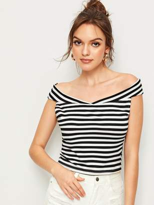 020f427338 Black And White Stripe Fitted Shirt For Women - ShopStyle