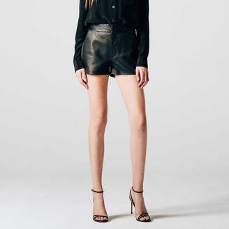 DSTLD Womens High Waisted Leather Shorts in Black
