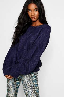 boohoo Cable Knit Jumper With Balloon Sleeves