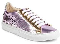 Sophia Webster Leather Lace-Up Low Top Sneakers