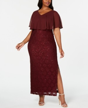 Connected Plus Size Sequined Lace Overlay Gown