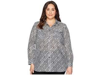 Lauren Ralph Lauren Plus Size Silk Cotton Voile Long Sleeve Shirt Women's Clothing