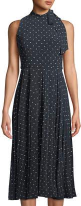 Donna Karan Polka-Dot Tie-Neck Midi Dress