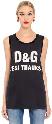 Dolce & Gabbana Yes! Thanks Jersey Sleeveless T-Shirt