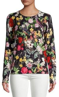 Lord & Taylor Floral Printed Cashmere Sweater
